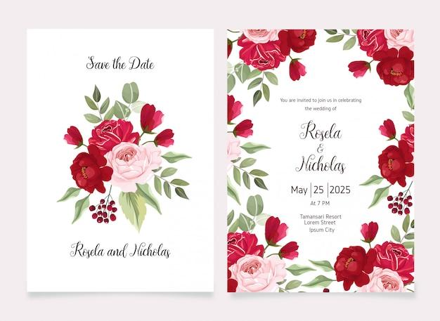 Fundo de flor salvar o cartão de data e o convite Vetor Premium