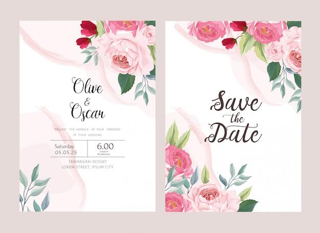 Fundo de flor salvar o cartão de data e o convite