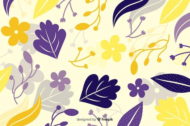 Fundo de flora amarela e roxa