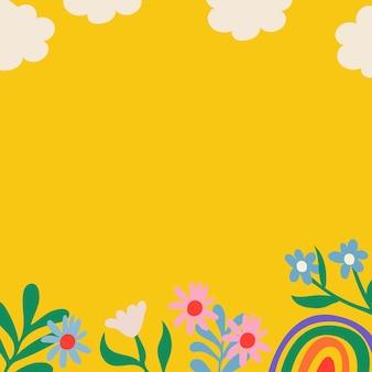 Fundo de flores coloridas, borda amarela fofa, doodle da natureza em vetor de design retro