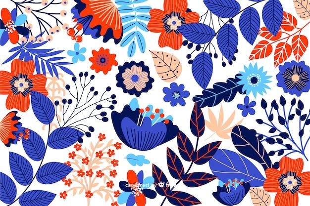 Fundo de flores coloridas mão desenhada