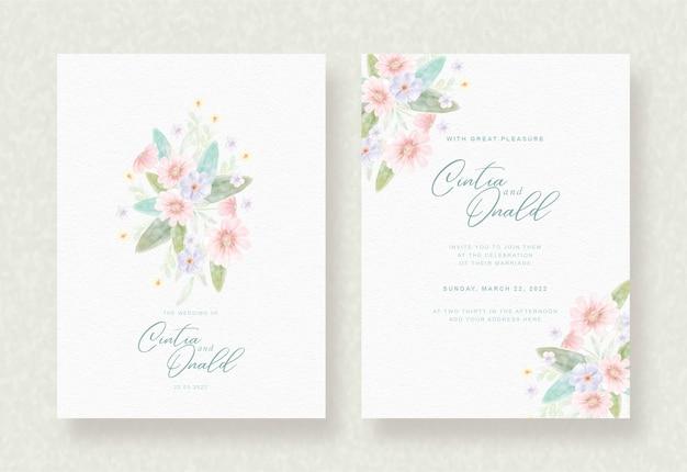 Fundo de flores coloridas no cartão de casamento