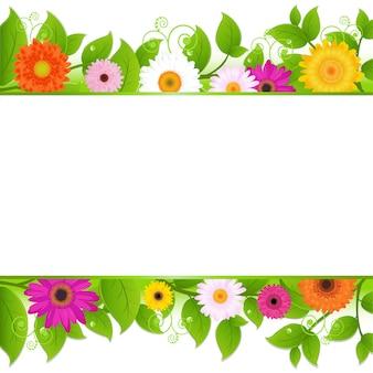 Fundo de flores com folhas, ilustração
