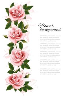 Fundo de flores com rosas de beleza cor de rosa. vetor.