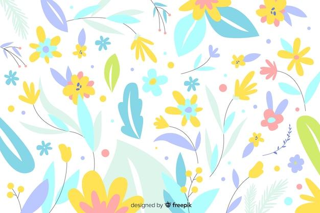 Fundo de flores cor pastel mão desenhada