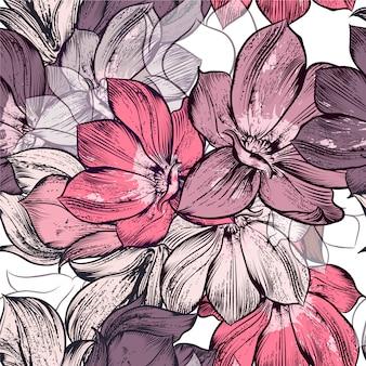 Fundo de flores de aguarela