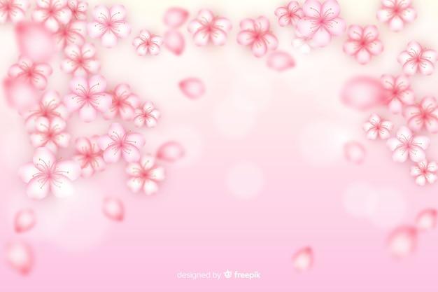 Fundo de flores de cerejeira realista