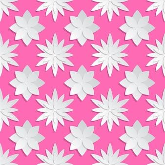 Fundo de flores de corte de papel. teste padrão floral de origami. origami de flores em fundo rosa, desenho de ilustração de origami de papel