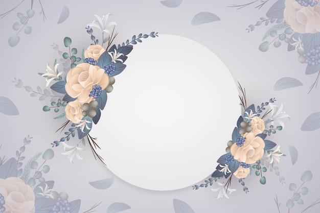 Fundo de flores de inverno com crachá vazio