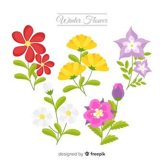 Fundo de flores de inverno plana