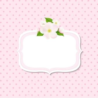 Fundo de flores de macieira com etiqueta,