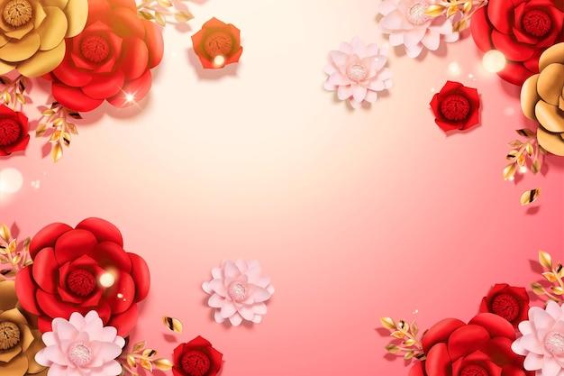 Fundo de flores de papel elegante em ilustração 3d