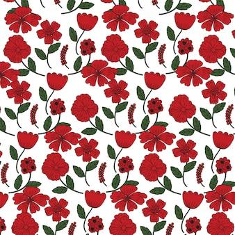 Fundo de flores de papoula vermelha