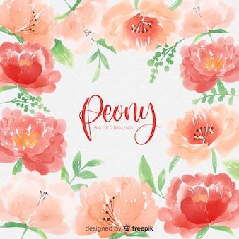Fundo de flores de peônia aquarela
