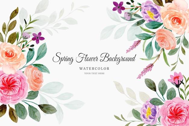 Fundo de flores de primavera com aquarela