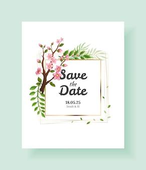 Fundo de flores de sakura. modelo de cartão de convite de casamento floral