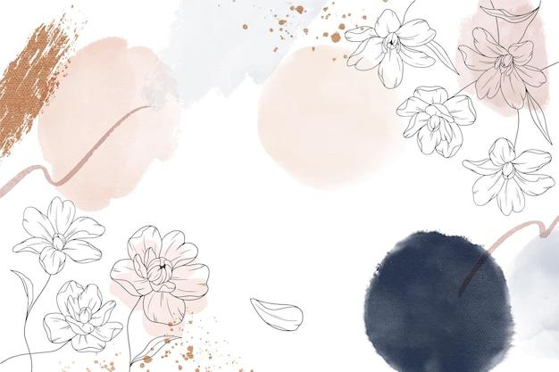 Fundo de flores desenhado à mão em aquarela