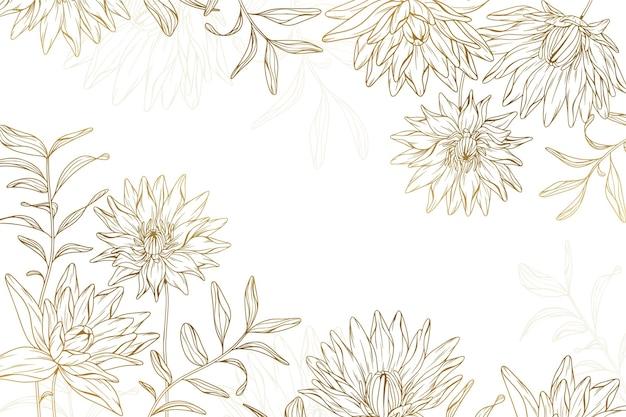 Fundo de flores douradas desenhadas à mão