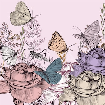 Fundo de flores e borboletas