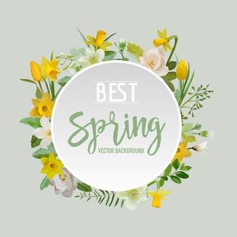 Fundo de flores e folhas de primavera