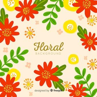 Fundo de flores e folhas planas