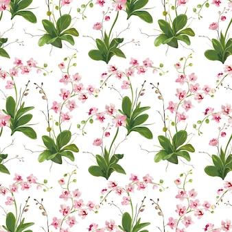 Fundo de flores e folhas tropicais de orquídea. padrão uniforme em