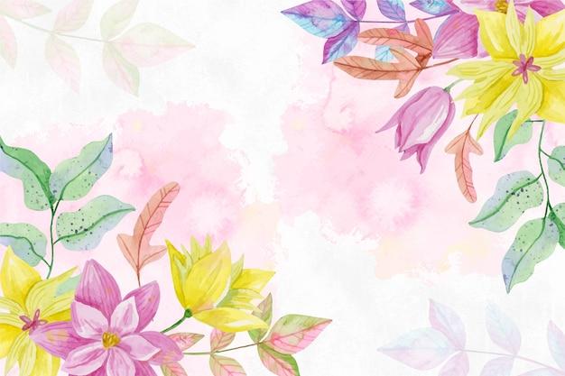 Fundo de flores em aquarela de cores pastel