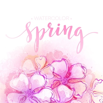 Fundo de flores em aquarela de primavera. ilustração