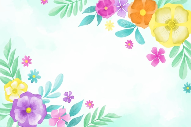 Fundo de flores em aquarela no conceito de cores pastel