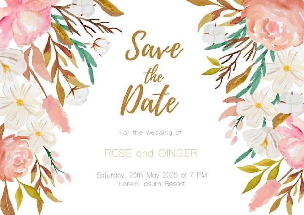 Fundo de flores em aquarela para convite de casamento