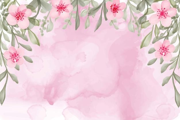 Fundo de flores em aquarela pintada à mão