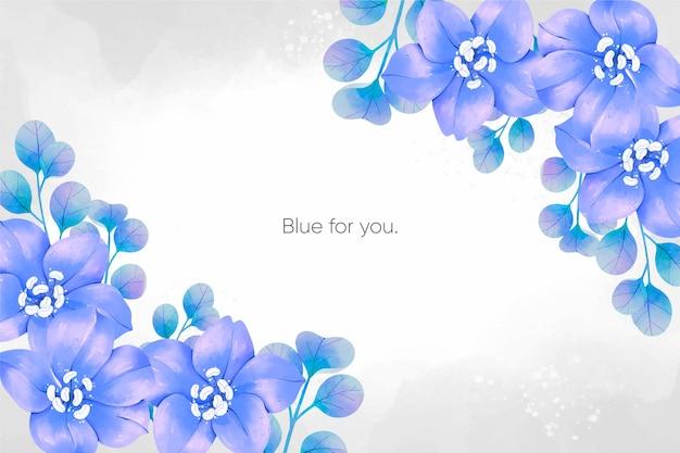 Fundo de flores em aquarela primavera azul