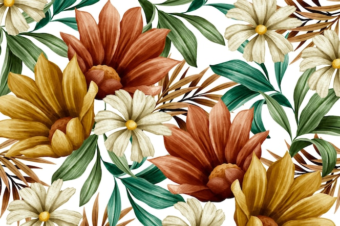 Fundo de flores em aquarela