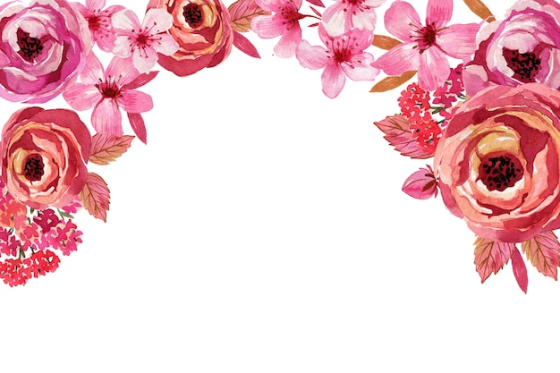 Fundo de flores monocromáticas em aquarela