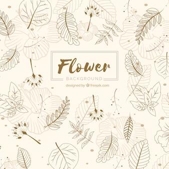 Fundo de flores na mão desenhada estilo