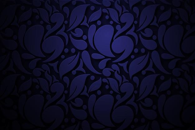Fundo de flores ornamentais abstratas azul escuro