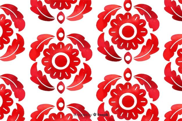 Fundo de flores ornamentais vermelho aquarela