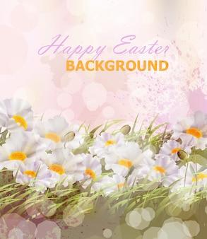 Fundo de flores realistas de feliz páscoa