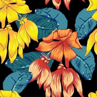 Fundo de flores silvestres de padrão sem emenda.