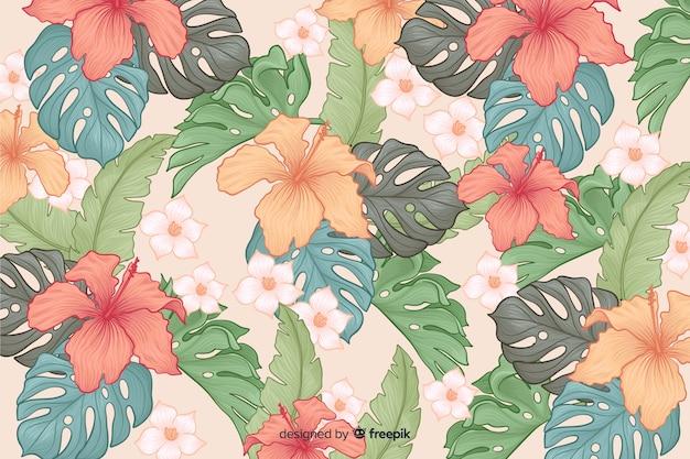 Fundo de flores tropicais de mão desenhada