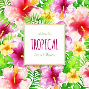 Fundo de flores tropicais em aquarela