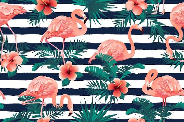 Fundo de flores tropicais lindo pássaro flamingo
