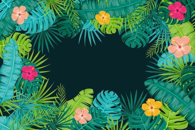 Fundo de flores tropicais para zoom