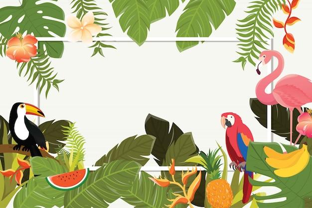 Fundo de flores tropicais