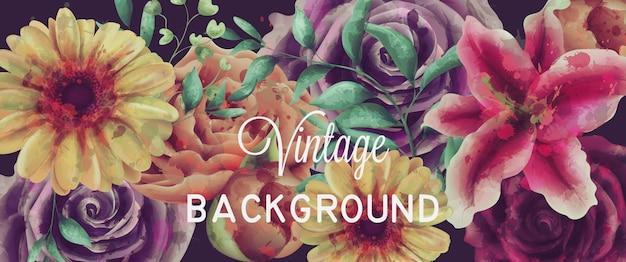 Fundo de flores vintage aquarela