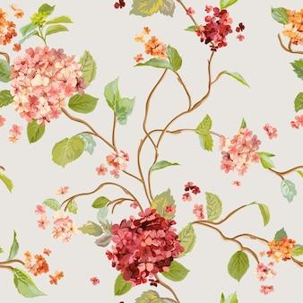 Fundo de flores vintage floral hortênsia