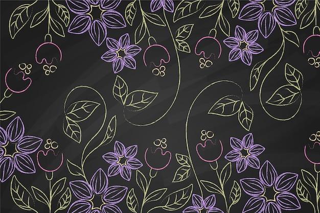 Fundo de flores violeta doodle mão desenhada