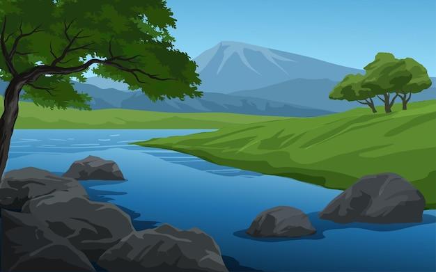 Fundo de floresta de desenho animado com rio e montanha