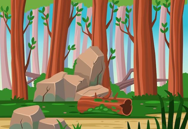Fundo de floresta de desenho vetorial no verão. plano de fundo para jogos e aplicativos móveis.