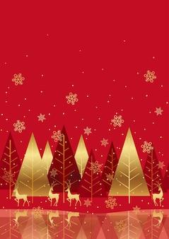 Fundo de floresta de inverno vermelho sem costura com espaço de texto. repetível horizontalmente.